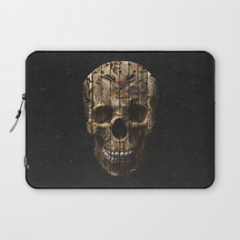 Vintage American Tattoo Skull Wood Stripes Texture Laptop Sleeve