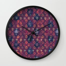 Lotus flower - orange and blue on mulberry woodblock print style pattern Wall Clock