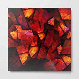 Fragments Of Fire - Abstract, geometric, fragmented pattern Metal Print