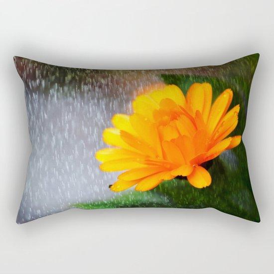 Golden flower on a rainy day Rectangular Pillow
