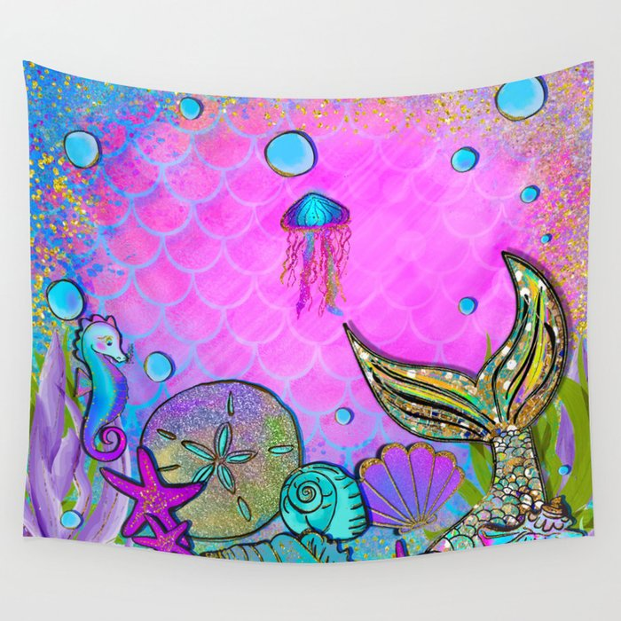 Pink Sparkly Sea Wall Tapestry