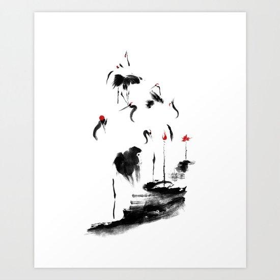 7 Cranes Art Print