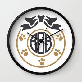 dog monogram Wall Clock