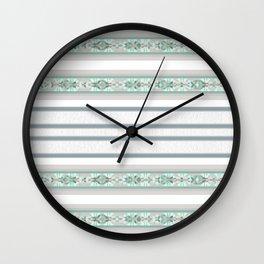 Decorative Teal Grey Stripe Pattern Wall Clock