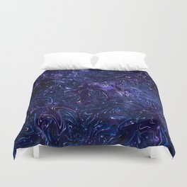 The Wolves Hidden in the Sapphire Blue Galaxy Duvet Cover