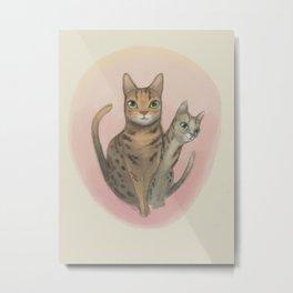 Two Bengal Cats Staring Metal Print