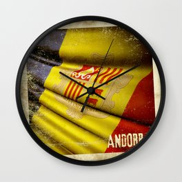 Grunge sticker of Andorra flag Wall Clock