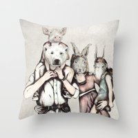 family Throw Pillows featuring Family by RiversAreDeep