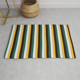 Classic Vertical Contrasted Green Boho Hipster Stripes  Rug