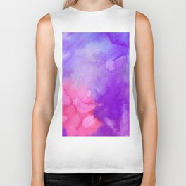 Pink blue violet abstract hand painted watercolor pattern Biker Tank