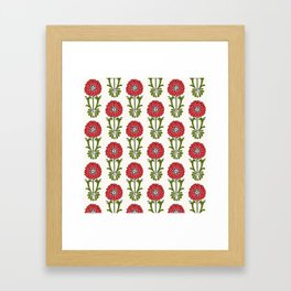 Dot Floral in Red Framed Art Print