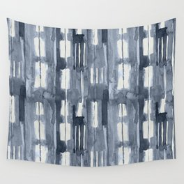 Simply Shibori Lines in Indigo Blue on Lunar Gray Wall Tapestry