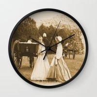 battlefield Wall Clocks featuring Strolling on the Battlefield by Frankie Cat