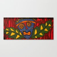 tiki Canvas Prints featuring Tiki by Shaylah Lukas Art