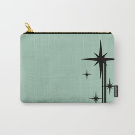 1950s Atomic Age Retro Starburst in Mint Green and Black Carry-All Pouch