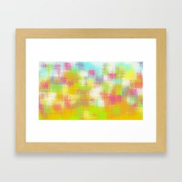 green yellow pink and blue plaid pattern Framed Art Print