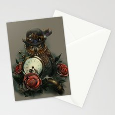 Sir Owl. Steampunk Stationery Cards
