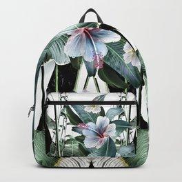 Banana leaf tropical paradise, leaves, hibiscus, Hawaii Backpack