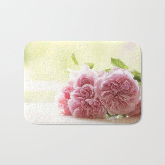 Wonderful pink Roses in LOVE - Vintage Rose Stilllife Photography Bath Mat