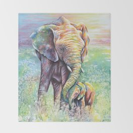 Colorful Mother Elephant and Baby Throw Blanket