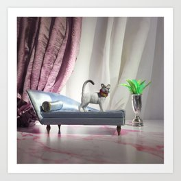 The Fancy Cat + The Chaise Art Print