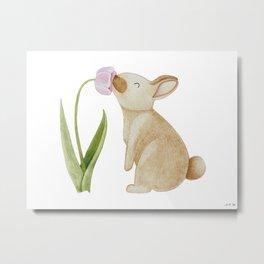 Bunny smelling a Tulip Metal Print