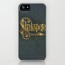 Antique Book Cover from 1800's  Literacy Lovers Blue  Gold  #Shakespeare  #Shakspere iPhone Case