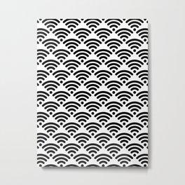 WiFi Pattern (black on white version) Metal Print