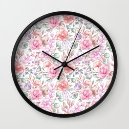 Vintage pink coral pastel green elegant chic floral Wall Clock