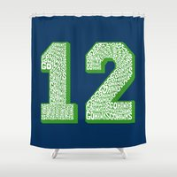 seahawks Shower Curtains featuring Go Hawks 12_1 by Nuart Media Group