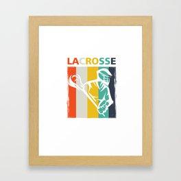Retro Lacrosse Players Field Sports Team Lax Sticks Gifts Framed Art Print