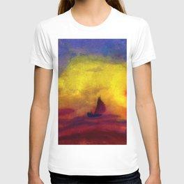 Sailboat and Red Sunset nautical landscape painting by Emil Nolde T-shirt