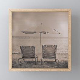 The loneliness of the deck chairs - La soledad de las tumbonas Framed Mini Art Print