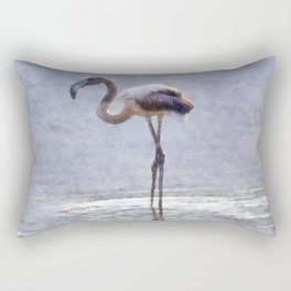 Flamingo Ripples and Reflections Watercolor Rectangular Pillow