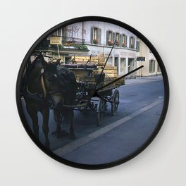 1940's Color Vintage Photo * Lucerne, Switzerland * Horse and Vegetable Cart Wall Clock