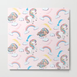 Rainbow unicorn & girl Metal Print