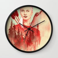games Wall Clocks featuring The Games by Katie Sanvick