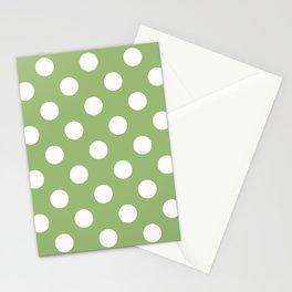 Olivine - green - White Polka Dots - Pois Pattern Stationery Cards