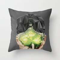 video games Throw Pillows featuring Triangles Video Games Heroes - Sam Fisher by s2lart