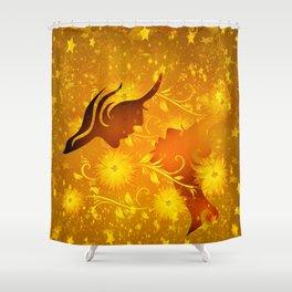 Golden In Love Shower Curtain