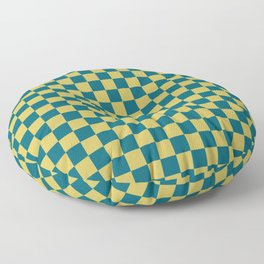 Dark Yellow and Tropical Dark Teal Inspired by Sherwin Williams 2020 Trending Color Oceanside SW6496 Small Checker Board Pattern Floor Pillow