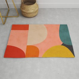 geometry shape mid century organic blush curry teal Rug