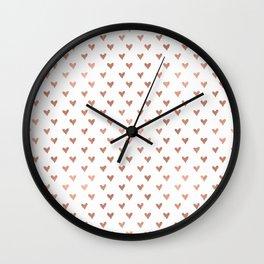 rose gold hearts Wall Clock