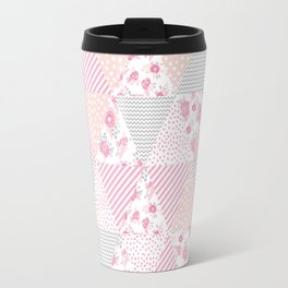 Pink soft flowers triangle quilt pattern print for home decor nursery craft room Travel Mug