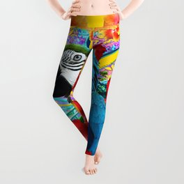 Tropical Blue Macaw Parrot & Hibiscus Flowers Leggings