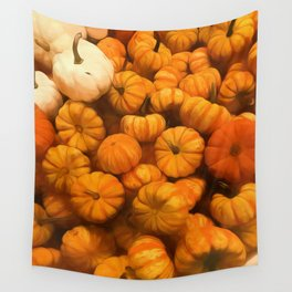 Pumpkins Tiny Gourds Pile Wall Tapestry