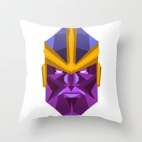 thanos Throw Pillows featuring THANOS by rybbrybson