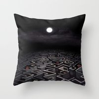 labyrinth Throw Pillows featuring Labyrinth  by Richard J. Bailey