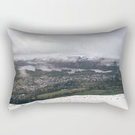 Views of Derwent Water and Keswick from Latrigg, covered in snow. Cumbria, UK. Rectangular Pillow