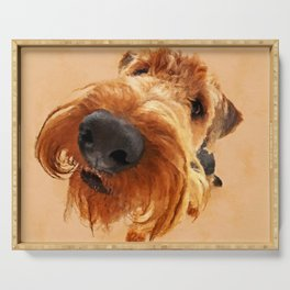Funny  Airedale Terrier Serving Tray